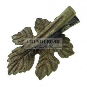 5pcs Antique Brass Maple Leaf Pad A..
