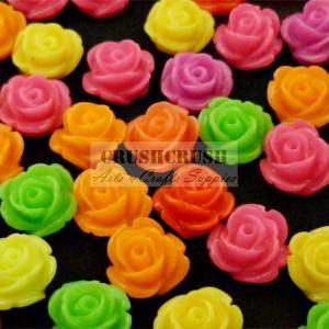 30pcs 9mm Hot Color Roses FLOWER Bl..