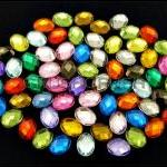 50pcs Assorted Color Faceted Oval ..