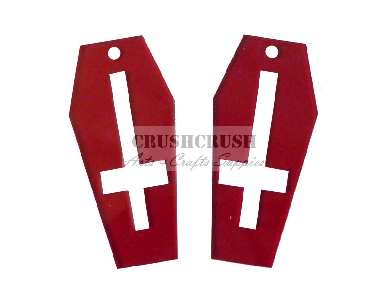 4pcs Red Transparent INVERTED CROSS COFFIN Pendants Charms PND-413(B)