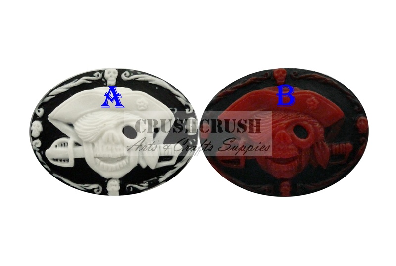3pcs Pirate Skeleton Skull Cameo Cabochons Flat Back Gothic F1118(B)