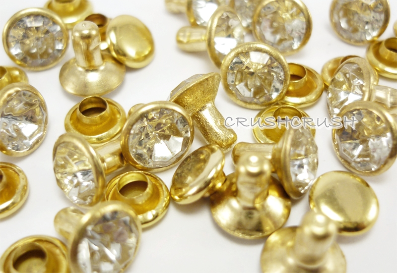 20Set 8mm Crystal Clear Daimond Synthetic Rhinestone Rivets Gold Base RV698