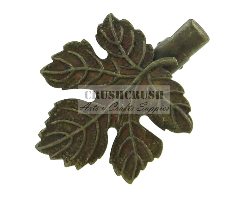 5pcs Antique Brass Maple Leaf Pad Alligator Hair Beak Clips C123