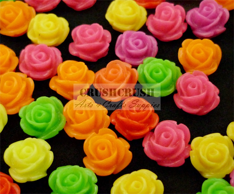 30pcs 9mm Hot Color Roses FLOWER Blossom FlatBack Cabochons F1157