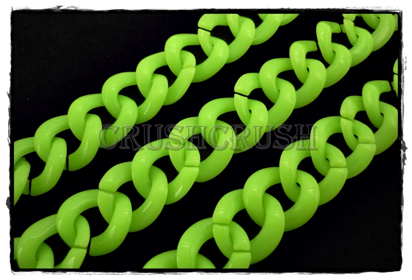 50pcs Baby Acrylic CHUNKY Link Chain Lime Green Colors X79