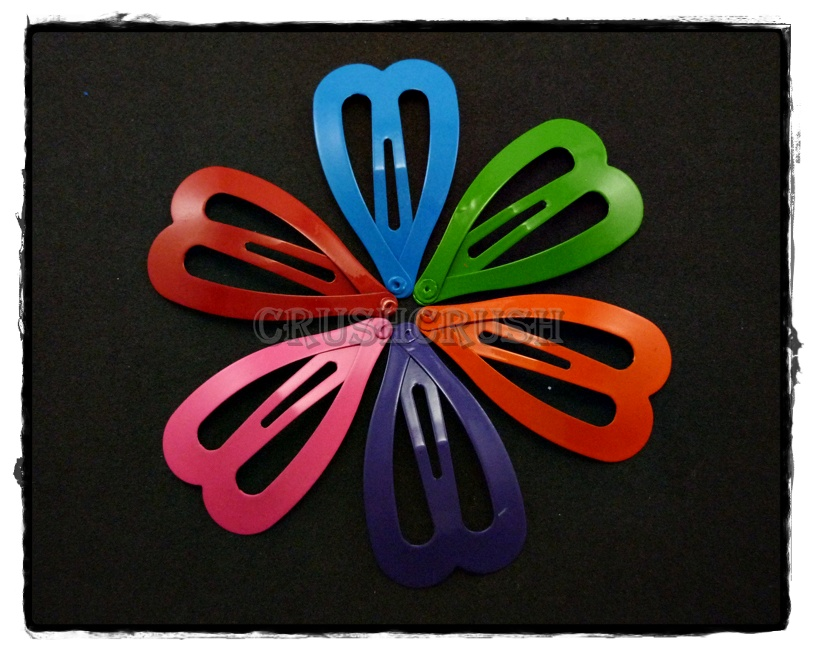24pcs 47mm Candy Color HEART Snap Hair Clip C59