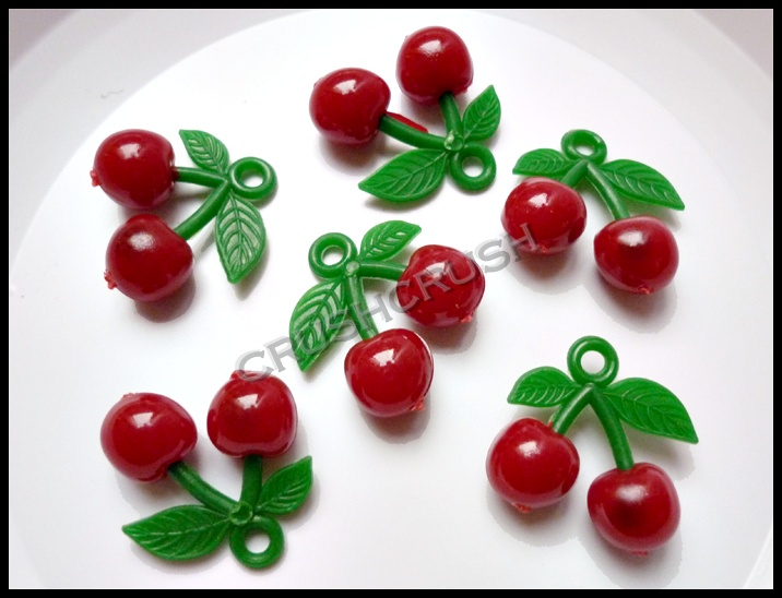 10pcs Plastic Sweet RED Cherry Charms Pendant Hanging Decoden DIY F701