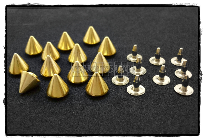 15pcs 8mm Gold Cone SPIKES RIVETS Studs Dog Collar Leather Craft RV895