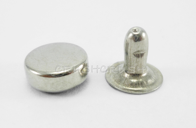 50x6mm Silver Flat Round Rivets Rapid Studs Leather DIY RV016