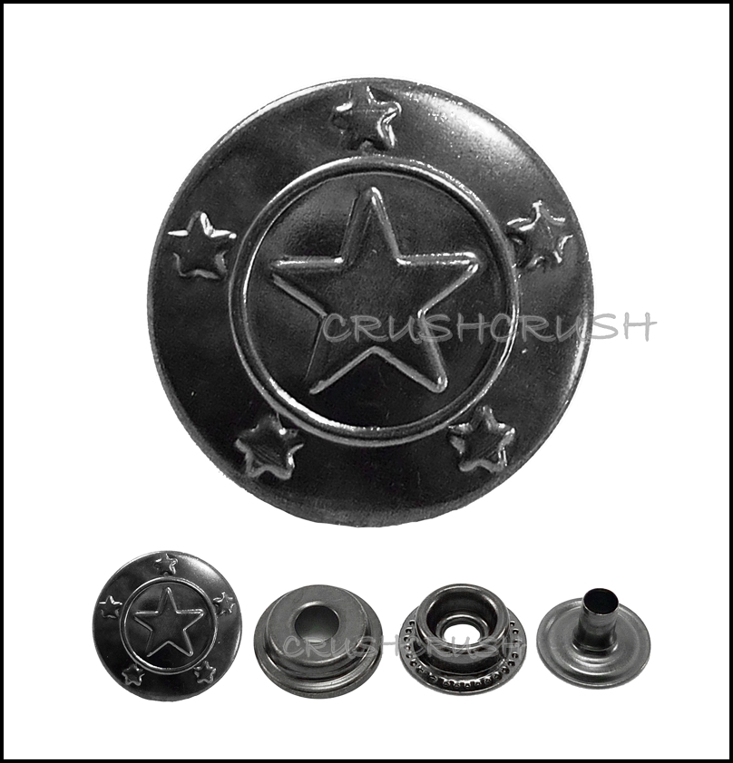 "10sets 9/16"" Cap - Ring Snap Buttons Fastener GUNMETAL -- V8115"
