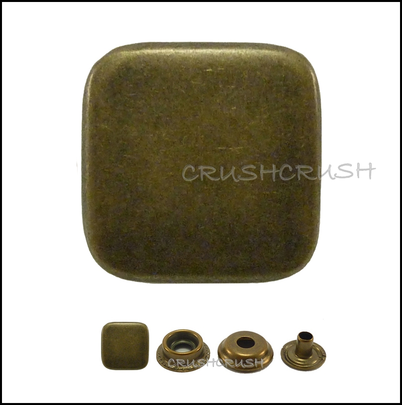 "10sets 17/32"" Flat Square Cap Ring Snap Buttons Fastener Made Of Brass--V9214"