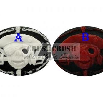 3pcs Pirate Skeleton Skull Cameo Cabochons Flat Back Gothic F1118(A)