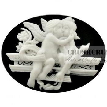 3pcs Angel Couple Kissing Wing Lover Victorian Cabochon FlatBack F1136