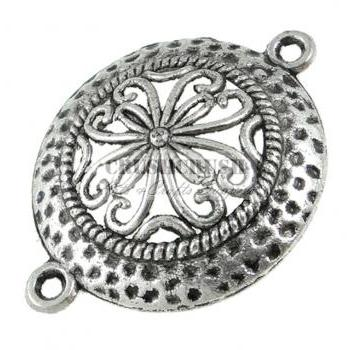 10pcs Flower Filigree Round Connectors Pendants Jewelry Making PND-532