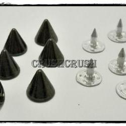 15pcs 8mm Gunmetal Cone SPIKES RIVETS Studs Dog Collar Leather Craft RV895