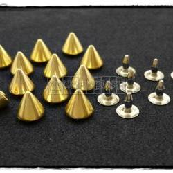 20pcs 6.5mm Gold Cone SPIKES RIVETS Studs Dog Collar Leather Craft RV897