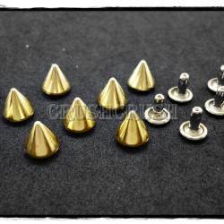15pcs 10mm Gold Cone SPIKES RIVETS Studs Dog Collar Leather Craft RV898