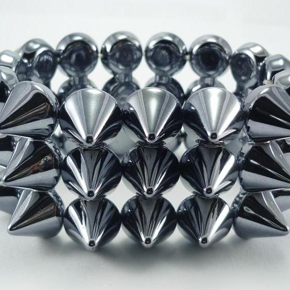 FREE SHIPPING Smoking Grey Spikes Elastic Bracelet Bangles Bracelets Wristbands Punk Rock A35